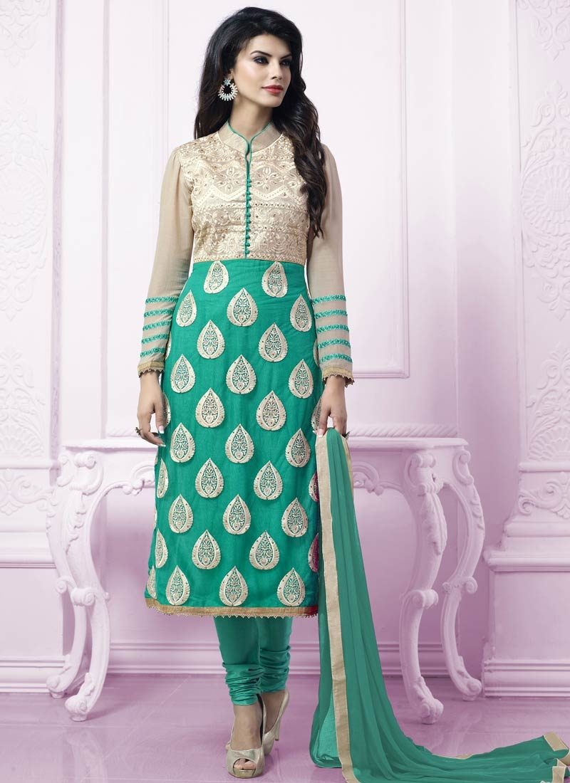 Conspicuous Booti Work Party Wear Salwar Kameez