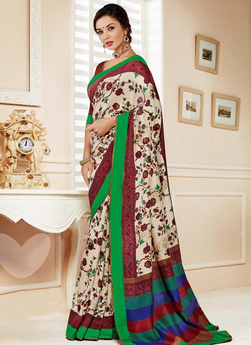 Conspicuous Digital Print Work Casual Saree
