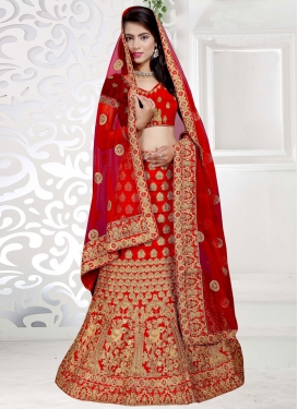 Conspicuous Embroidered Work Art Silk Designer Lehenga Choli