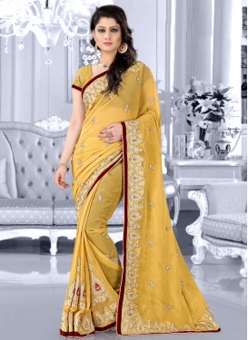 Conspicuous Faux Chiffon Stone Work Wedding Saree
