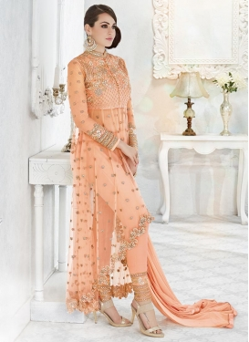 Conspicuous Faux Georgette Asymmetrical Designer Suit For Festival