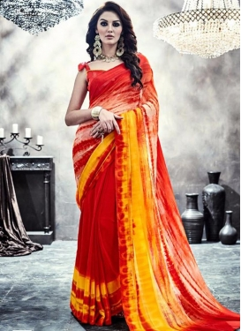 Conspicuous Faux Georgette Red and Yellow Contemporary Saree For Casual