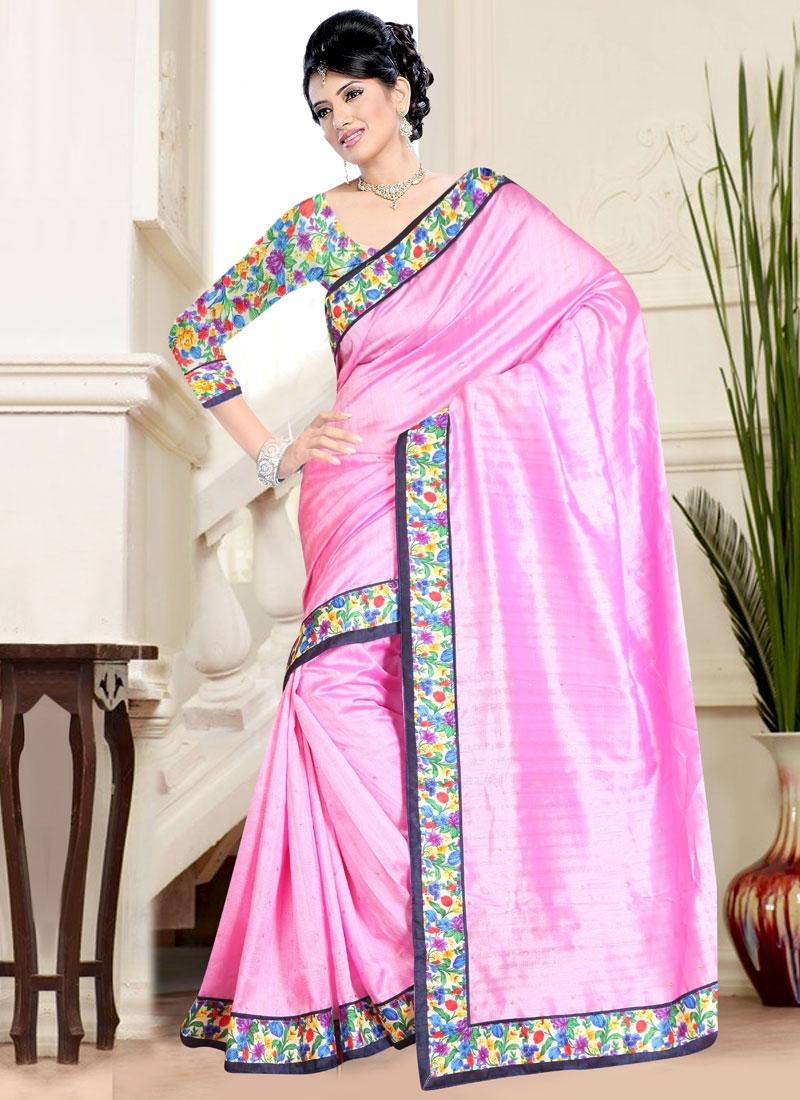 Conspicuous Lace Work Bhagalpuri Silk Casual Saree