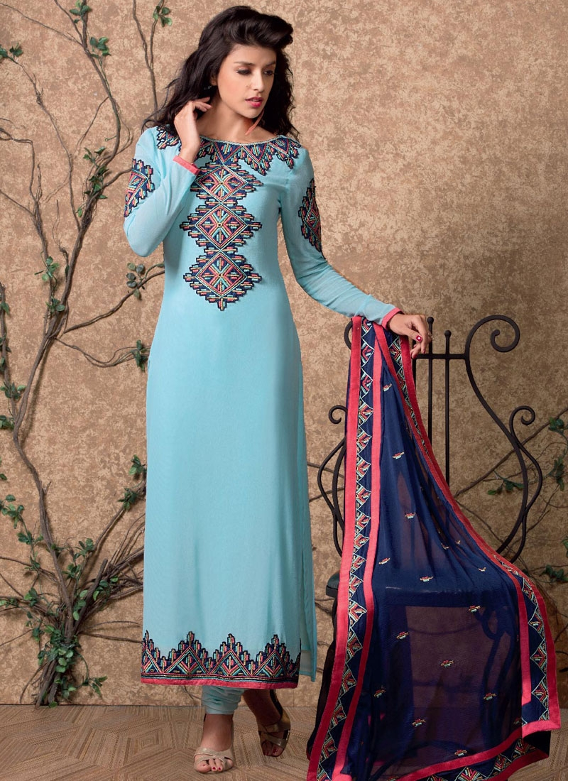 Conspicuous Light Blue Color Pakistani Salwar Kameez