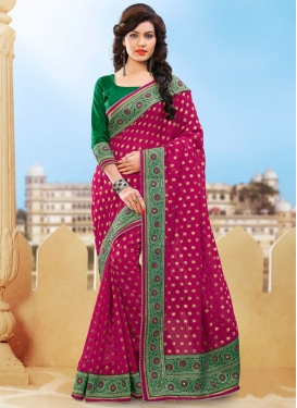 Conspicuous Mirror And Resham Work Designer Saree