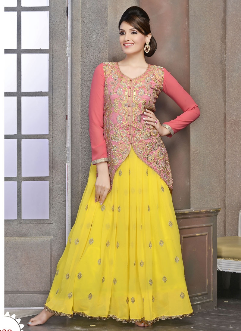 Conspicuous Multi And Resham Work Jacket Style Salwar Suit
