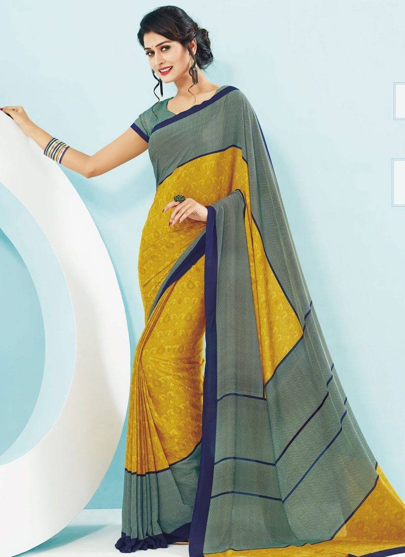 Conspicuous Mustard Color Printed Casual Saree