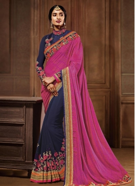 Conspicuous Navy Blue and Rose Pink Embroidered Work Half N Half Trendy Saree