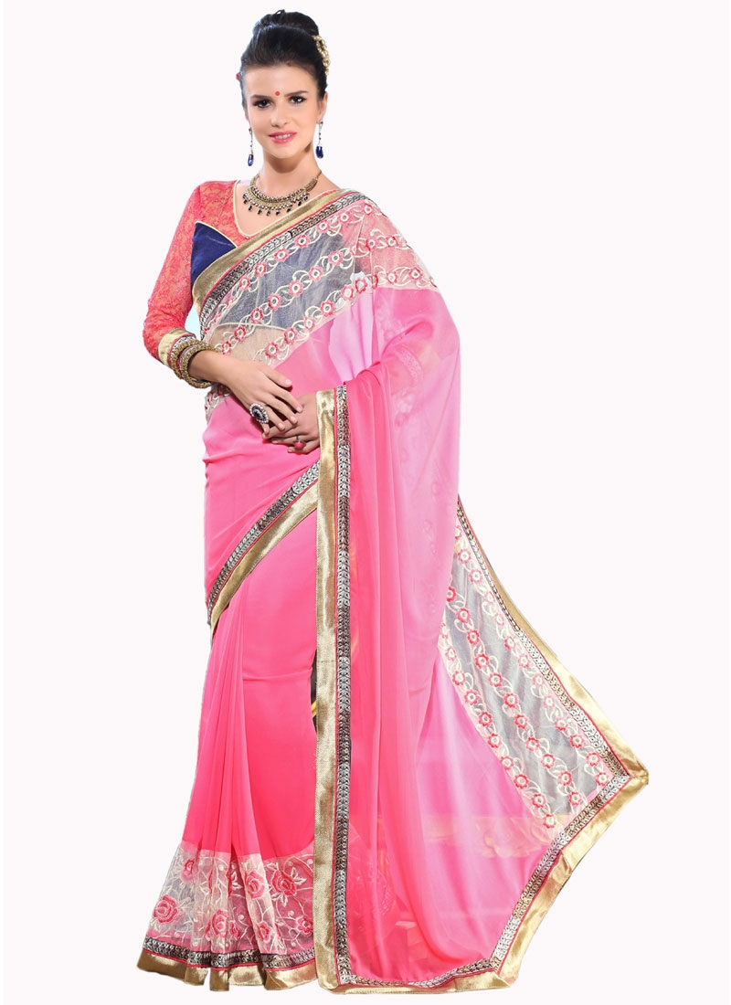 Conspicuous Patch Border And Resham Work Party Wear Saree