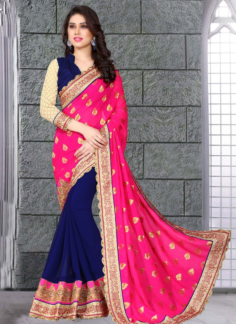 Conspicuous Patch Border Work Half N Half Designer Saree