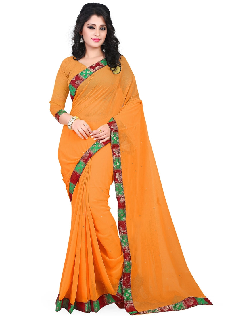 Conspicuous Resham And Stone Work Casual Saree