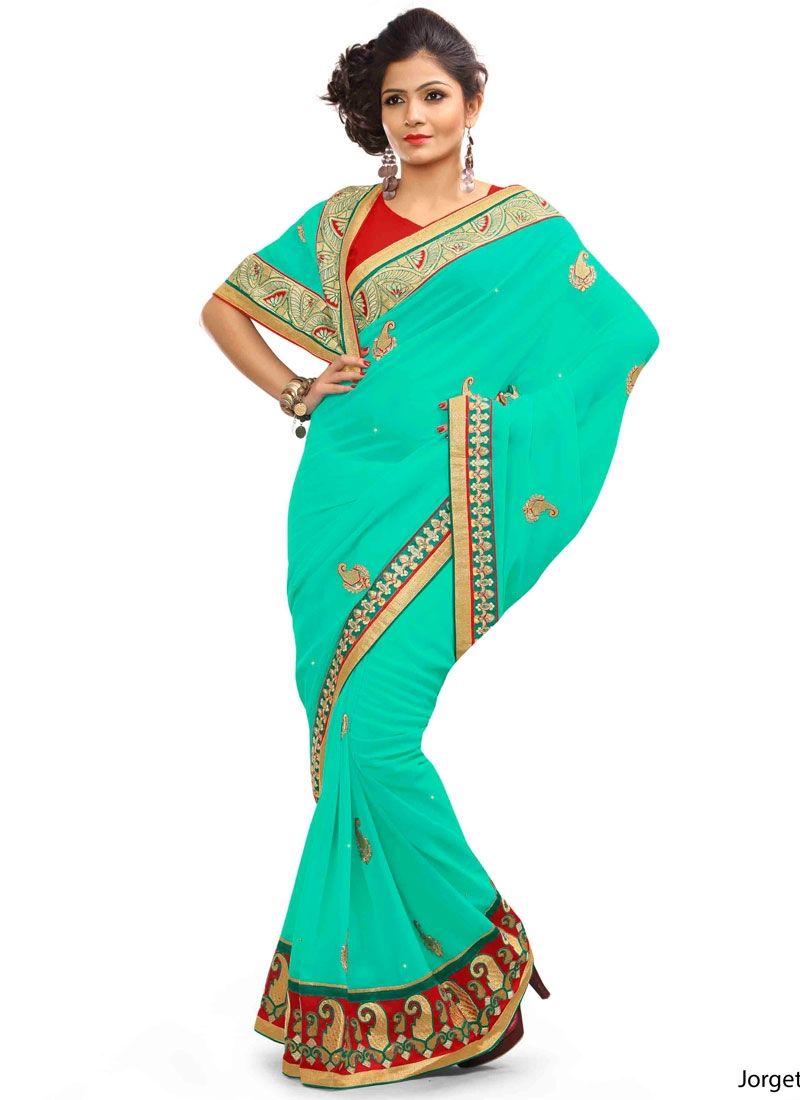 Conspicuous Resham Work Turquoise Color Party Wear Saree