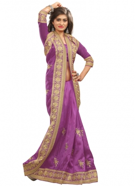 Conspicuous Resham Work Violet Color Party Wear Saree