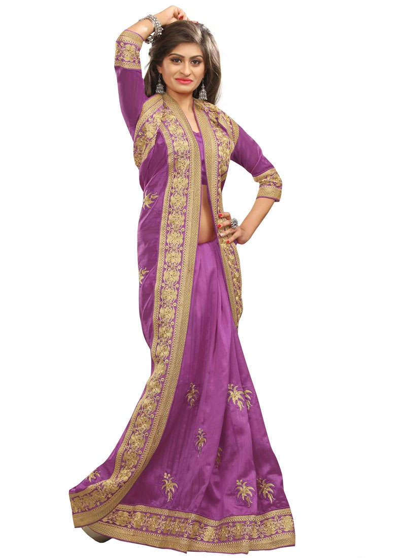 Conspicuous Resham Work Violet Color Party Wear Saree
