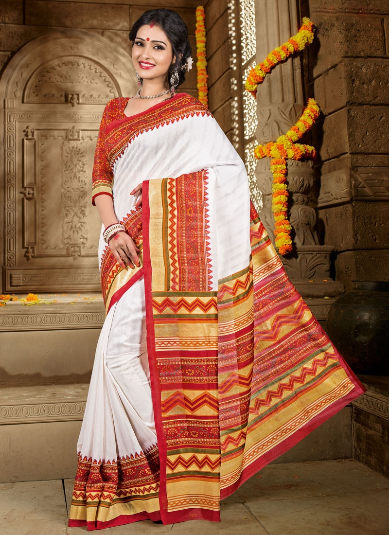 Conspicuous White And Red Color Art Silk Casual Saree