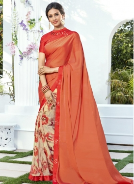 Coral and Cream Half N Half Trendy Saree
