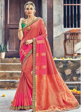Coral and Green Art Silk Contemporary Style Saree