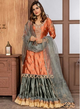 Coral and Grey Satin Sharara Salwar Kameez