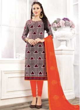 Coral and Maroon Trendy Churidar Salwar Suit