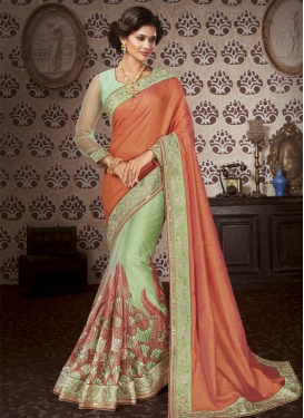 Coral and Mint Green Embroidered Work Half N Half Saree