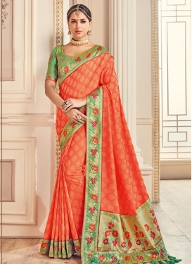 Coral and Mint Green Embroidered Work Trendy Classic Saree