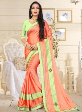 Coral and Mint Green Satin Silk Contemporary Style Saree