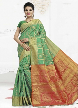Coral and Mint Green Thread Work Contemporary Saree