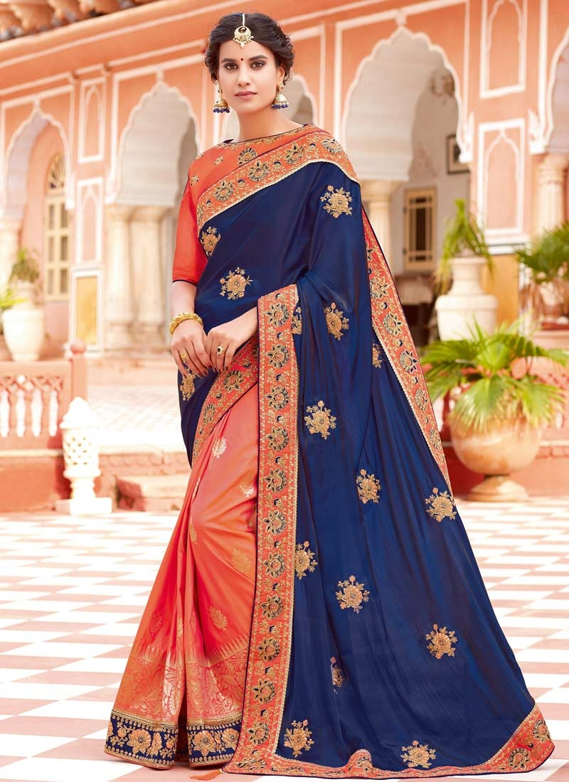 a07fa22f0a56bb Shop Coral and Navy Blue Art Silk Half N Half Saree For Festival Online