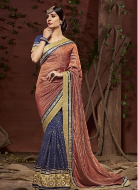 Coral and Navy Blue Beads Work  Half N Half Designer Saree