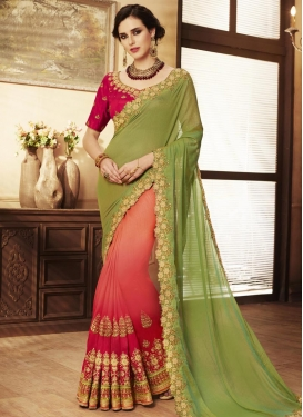 Coral and Olive  Silk Half N Half Trendy Saree
