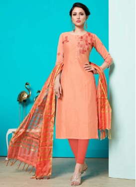 Coral and Peach Churidar Salwar Kameez For Ceremonial