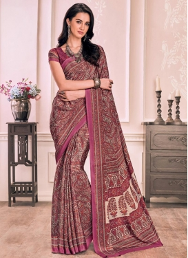 Coral and Pink Classic Saree For Casual
