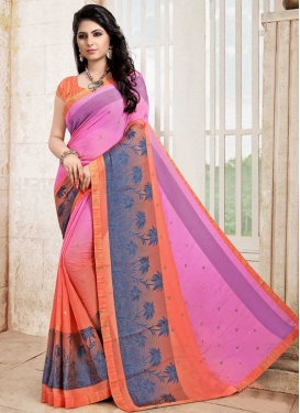 Coral and Pink Designer Traditional Saree