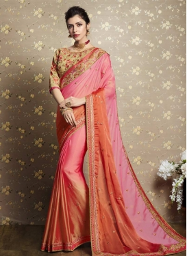 Coral and Pink Trendy Classic Saree For Festival