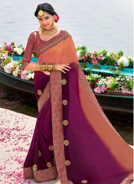 Coral and Purple Trendy Saree