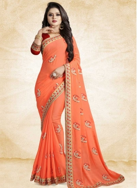 Coral and Red Art Silk Classic Saree