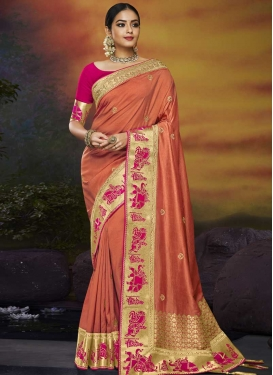 Coral and Rose Pink Art Silk Trendy Saree
