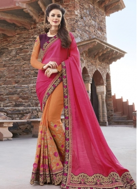 Coral and Rose Pink Embroidered Work Half N Half Trendy Saree