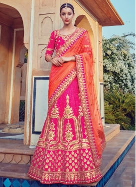 Coral and Rose Pink Lehenga Saree For Bridal