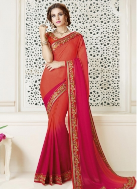 Coral and Rose Pink Satin Georgette Traditional Saree