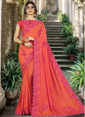 Coral and Rose Pink Silk Designer Contemporary Style Saree For Ceremonial