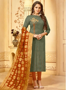 Coral and Sea Green Trendy Churidar Salwar Kameez For Casual