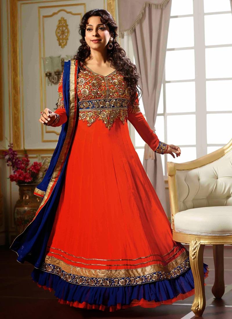 Coral Color Juhi Chawla Bollywood Salwar Kameez