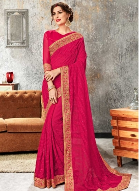 Cord Work Faux Chiffon Trendy Saree For Festival