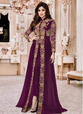 Cord Work Shamita Shetty Pant Style Straight Salwar Suit