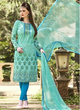 Cotton Aqua Blue and Light Blue Print Work Pant Style Straight Suit