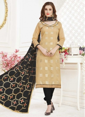 Cotton Beige and Black Lace Work Churidar Salwar Suit