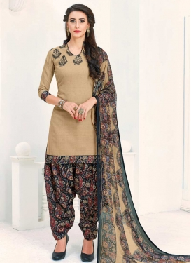 Cotton Beige and Black Semi Patiala Salwar Kameez