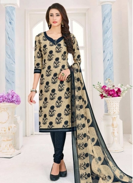 Cotton Beige and Grey Print Work Churidar Salwar Kameez