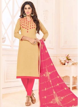 Cotton Beige and Hot Pink Embroidered Work Trendy Churidar Salwar Suit